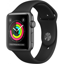 Смарт-часы Apple Watch S3 38mm Space Gray Aluminum Case with White Sport Band