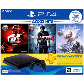 Игровая приставка SONY PlayStation 4 500GB + Horizon Zero Dawn+ Gran Turismo Sport + Uncharted 4 + PS Plus 3 месяца